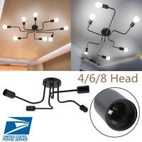 4/6/8 Head Industrial Vintage Pendant Light Holder Ceiling Lamp Hanger Fixtures