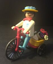 Vintage Playmobil 1974 Geobra Pink Tricycle With Yellow Basket Flower Seller