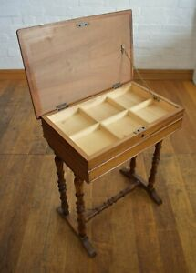 Lockable Inlaid sewing table - collectors display case - side table