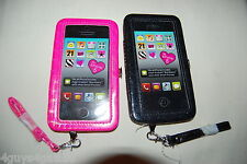 2 Universal Phone Case CLUTCH WALLET Android iPHONE 5 Hot Pink BLACK SPARKLE