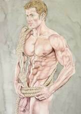 Oh boy, homme nu, watercolor print nude male tied in rope gay interest