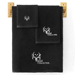 Bone Collector Towel Set Black 3pc Deer Antler Skull Logo Modern Michael Waddell