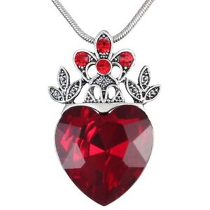 Valentines Evie Necklace Descendants Red Heart Crown Necklace Queen of Hear Gift
