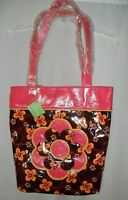 Brown & Pink Vera Bradley Frill Buttercup Large Shoulder Bag Purse Tote NWT