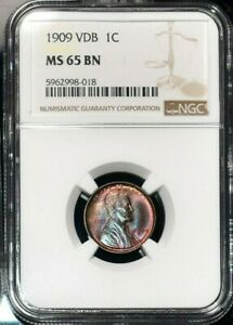 1909 VDB LINCOLN WHEAT CENT NGC MS 65 BN REMARKABLE TONED COLOR BEAUTIFUL GEM