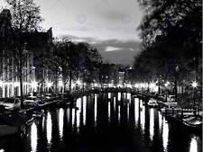 I canali di Amsterdam LUCI NOTTE NERO BIANCO art print poster foto bmp1603b