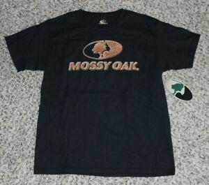 NEW Boys Youth MOSSY OAK T-Shirt Tee Hunting Black & Brown Medium Large