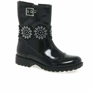LELLI KELLY BELLA 3 GIRLS JUNIOR BLACK PATENT LEATHER CHILDRENS ANKLE BOOTS