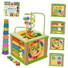 Wooden Kids Baby Activity Cube - Boys Gift Set   One 1, 2 Year Blue Packaging