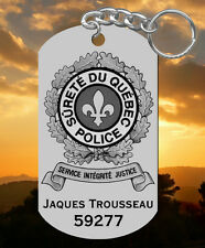 Surete du Quebec Police Steel Keychain, Personalized FREE, Laser Engraved