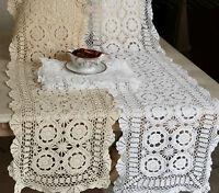 Vintage Handmade Crochet Lace 100% Cotton Runner/Topper/Doily White/Ecru Oblong