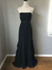 $398 BCBG MaxAzria Black Tiered Silk Strapless Spanish Gown Dress Size 6 Small