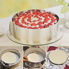 """Adjustable 6-12"""" Stainless Steel Cake Mousse Mould Baking Round Form Ring Home"""