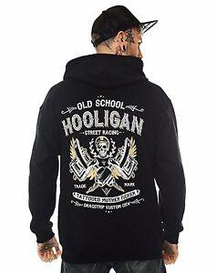 Dragstrip Clothing Mens Hooded Top Hooligan Life Hot Rod Hoody Biker Hooded Top