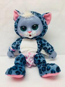 "Animal Babies Nursery Blue Snow Leopard Baby Sounds Diaper 15"" Plush Wild Cat"