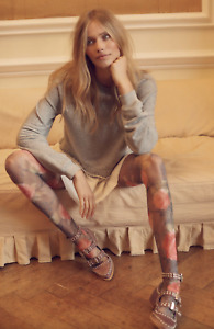 Look From London Hosiery Peek-A-Boo Print Fishnet Tights Vintage Rose One Size