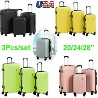 """20/24/28"""" 3Pcs/set Travel Carry Luggage Carry-On Suitcase w/Spinner Wheels&Lock"""