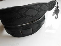 UK MADE EMBOSSED BLACK PYTHON DELUXE PADDED GENUINE SUEDE LEATHER GUITAR STRAP