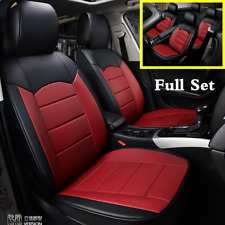 Universal Full Set 5-Sits Car Seat Cover Cushion Accessories Black/Red Leather
