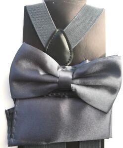 Men Bow Tie Bowtie Suspender Pocket Square Hanky Set Classic Wedding Pre-tied