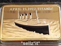 1912 RMS TITANIC Boat Ship 1oz Bar of 24Kt Gold Ingot 100 Anniversary Belfast UK
