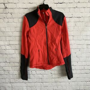 Lululemon Forme Jacket Brushed Love Red Deep Coal Moisture Wicking Fitted 8