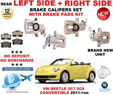 Para VW Beetle Convertible 2011 > Pinzas De Freno Trasero Izquierda + Derecha Con Cojines Set