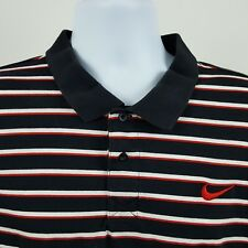 Nike Black Red White Striped Boys Short Sleeve Polo Shirt Sz XL