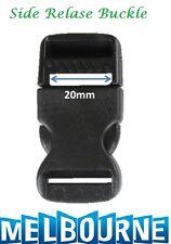 20mm Plastic Side Quick Release Buckle Clip - Cord Strap Backpack Bag Safe BLK #