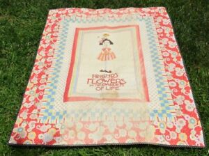 """Vtg Applique """"Friends are Flowers in Garden of Life"""" Quilt Top 54""""X44"""" Cotton"""