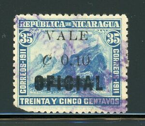 """Nicaragua 1914 Blue WATERLOW Provisionals Specialized MAXWELL #422b """"0.10"""" ERROR"""