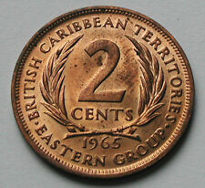 1965 BRITISH EAST CARIBBEAN TERRITORIES Coin - 2 Cents - AU++ red/brown lustre