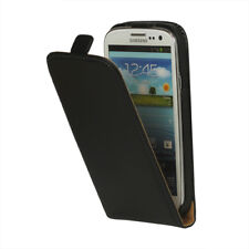 Samsung Galaxy S3 Neo Handy Tasche Flip Echt Leder Vertikal Aufklapp Schwarz