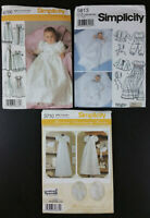 NEW Simplicity Infant Christening Gown Sewing Patterns, LOT of 3