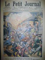 ETATS-UNIS VIADUC BROOKLYN TRAINS EN FEU SOIREE DANSANTE LE PETIT JOURNAL 1903