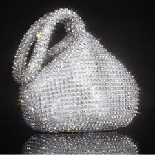 Fashion Rhinestones Evening Dinner Clutch Purse Bag For Party Wedding Silver USA
