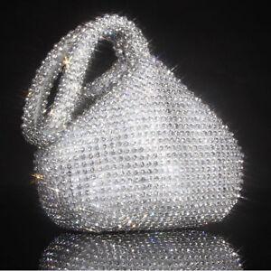 Neu Strass Abend Abendessen Clutch Geldbörse Tasche für Party Hochzeit Silber