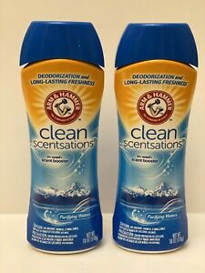 2 ARM & HAMMER CLEAN SCENTSATIONS IN WASH BOOSTER ODOR BLASTERS PURIFYING WATERS