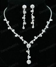 CRYSTAL rhinestone DIAMANTE NECKLACE & EARRINGS SET pretty flower wedding choker