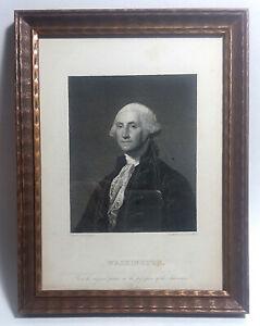 Orig Antique Steel Engraving - GEORGE WASHINGTON by Asher B Durand,1838 - Framed