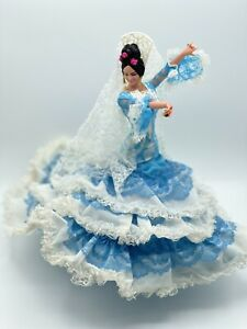 "Vintage Marin Chiclana 13"" Spanish Flamenco Dancer Doll Figure Sky Blue White"