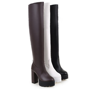 Ladies Block Heels Knee High Stretchy Boots Pull on Platform Shoes Plus Size NEW