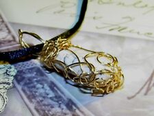 EXQUISITE HAND-CRAFTED-GOLD-WIRE-WRAPPED WHITE TURQUOISE PENDANT  1-5/8 INCHES