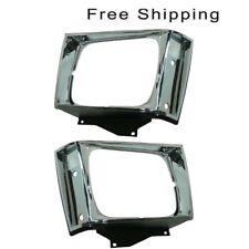 Head Lamp Door Chrome Set of 2 LH & RH Side Fits Chevrolet S10 GMC S15 S15 Jimmy