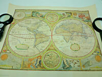 Historic World Map Reproduction Poster A NEW AND ACCVRAT MAP OF THE WORLD 1651