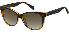 Fossil Women's Brown Havana Square Cat-Eye Sunglasses - Fos3073S 09N4 Ha
