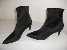 Ladies Black Satin Ankle BOOTS Stretch M & S Size 8 EU 42 Gbp35