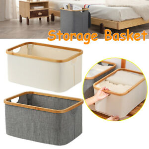 Waterproof Foldable Clothes Laundry Basket With Handle Bamboo Dirty Storage Box