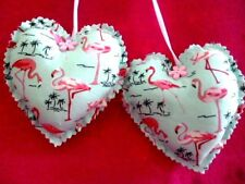 ***HAND MADE 2 X FLAMINGO HEARTS**HANGING  DECORATIONS
