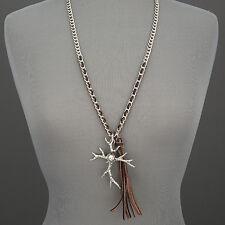 Silver Chain Leather Fringe Tassel Deer Antler Bohemian Pendant Necklace